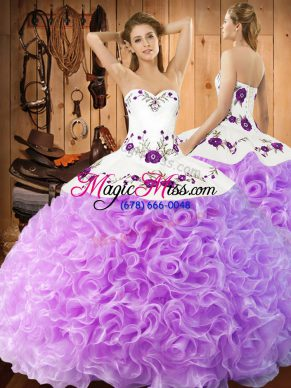 Designer Lilac Ball Gowns Fabric With Rolling Flowers Halter Top Sleeveless Embroidery Floor Length Lace Up Vestidos de Quinceanera