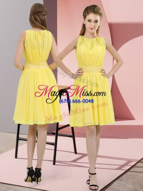 Knee Length Empire Sleeveless Yellow Dama Dress for Quinceanera Zipper
