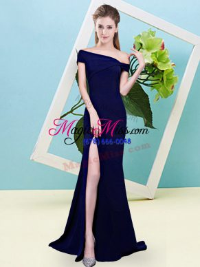 Floor Length Mermaid Sleeveless Royal Blue Quinceanera Court Dresses Zipper