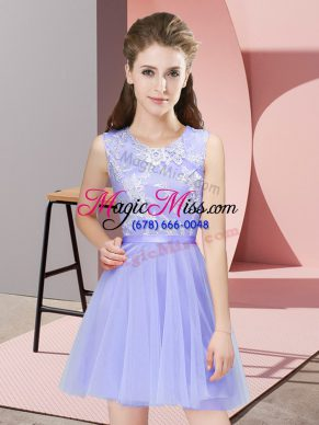 Nice Mini Length Lavender Quinceanera Dama Dress Tulle Sleeveless Lace