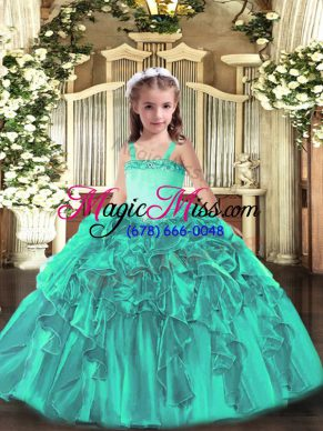 Turquoise Little Girl Pageant Gowns Party and Quinceanera with Appliques and Ruffles Straps Sleeveless Lace Up