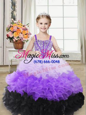 Sleeveless Floor Length Beading and Ruffles Lace Up Pageant Gowns For Girls with Multi-color