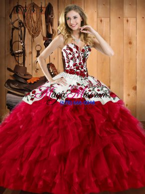 Wine Red Satin and Organza Lace Up Sweet 16 Dress Sleeveless Floor Length Embroidery and Ruffles