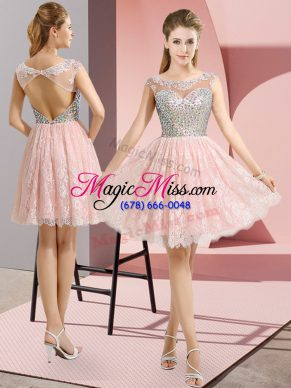 Custom Fit Mini Length Baby Pink Prom Evening Gown Lace Cap Sleeves Beading