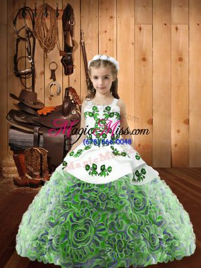 Multi-color Straps Neckline Embroidery and Ruffles Little Girls Pageant Dress Wholesale Sleeveless Lace Up