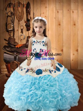 Graceful Baby Blue Fabric With Rolling Flowers Lace Up Straps Sleeveless Floor Length Little Girls Pageant Dress Beading and Ruffles