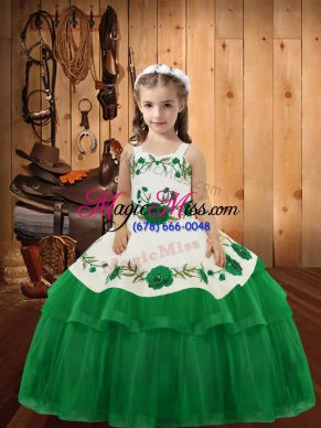 Latest Green Organza Lace Up Child Pageant Dress Sleeveless Floor Length Embroidery and Ruffled Layers