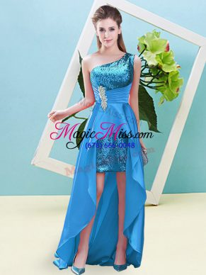 Customized Elastic Woven Satin and Sequined Sleeveless High Low Prom Dresses and Beading and Sequins