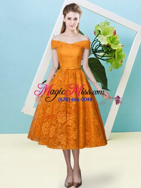 Perfect Tea Length Orange Red Vestidos de Damas Off The Shoulder Cap Sleeves Lace Up