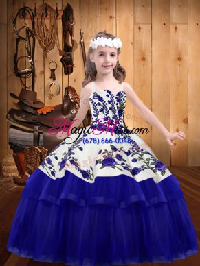 Customized Blue Lace Up Straps Embroidery Little Girls Pageant Dress Wholesale Organza Sleeveless