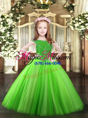 Enchanting Sleeveless Floor Length Beading Zipper Pageant Gowns For Girls with