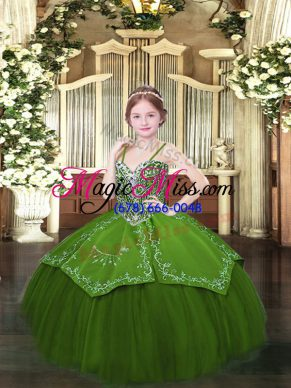 Floor Length Ball Gowns Sleeveless Olive Green Kids Pageant Dress Lace Up