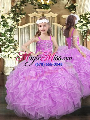 Stunning Organza Sleeveless Floor Length Pageant Gowns For Girls and Beading and Ruffles