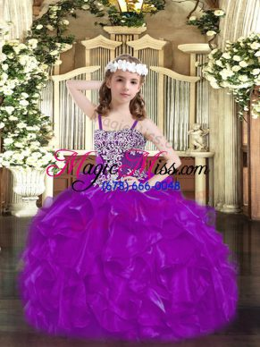 Purple Sleeveless Organza Lace Up Little Girls Pageant Dress for Party and Quinceanera