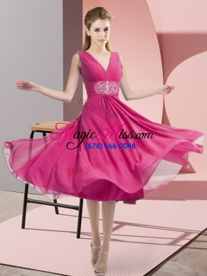 Knee Length Empire Sleeveless Hot Pink Bridesmaids Dress Side Zipper