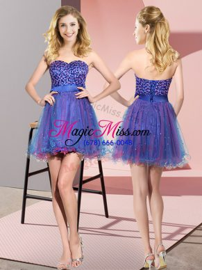 Mini Length Multi-color Quinceanera Court of Honor Dress Sweetheart Sleeveless Lace Up