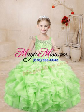Organza Straps Sleeveless Lace Up Beading and Ruffles Little Girls Pageant Gowns in Yellow Green