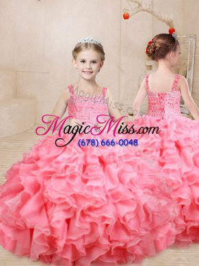 Exquisite Organza Sleeveless Floor Length Girls Pageant Dresses and Beading and Ruffles