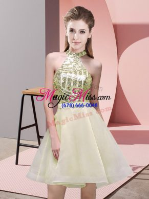 Light Yellow Backless Halter Top Sequins Quinceanera Dama Dress Chiffon Sleeveless