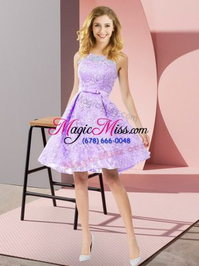 Lavender A-line Lace Scoop Sleeveless Bowknot Knee Length Zipper Bridesmaid Gown