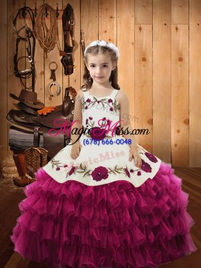 Cheap Fuchsia Organza Lace Up Straps Sleeveless Floor Length Little Girl Pageant Gowns Embroidery and Ruffled Layers