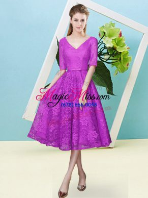 Tea Length Fuchsia Bridesmaid Dresses Lace Half Sleeves Bowknot