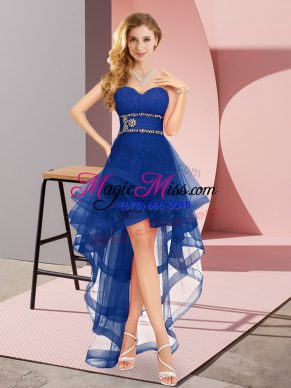 Shining A-line Vestidos de Damas Royal Blue Sweetheart Tulle Sleeveless High Low Lace Up
