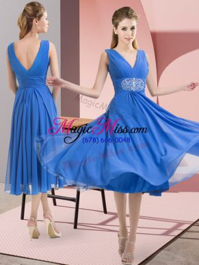 Sleeveless Knee Length Beading Side Zipper Wedding Guest Dresses with Baby Blue