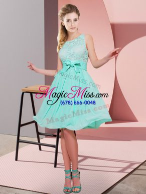 Fine Chiffon Scoop Sleeveless Side Zipper Lace and Bowknot Bridesmaid Dresses in Apple Green