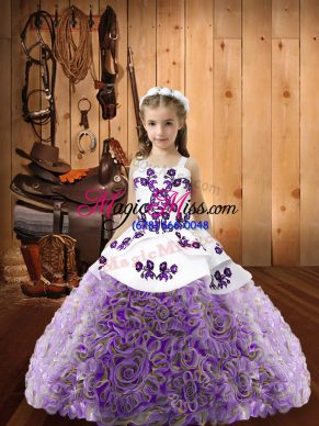 Latest Floor Length Multi-color Little Girl Pageant Dress Fabric With Rolling Flowers Sleeveless Embroidery