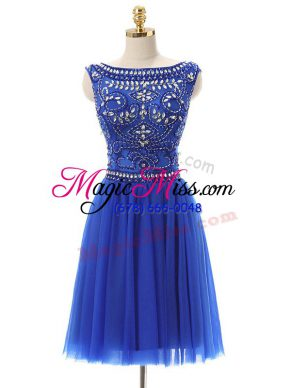Royal Blue Sleeveless Tulle Zipper Homecoming Dress for Prom and Party