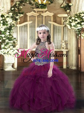Perfect Floor Length Purple Little Girl Pageant Dress Halter Top Sleeveless Lace Up