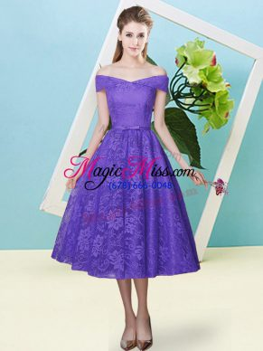 Flirting Lavender Cap Sleeves Bowknot Tea Length Bridesmaid Dress