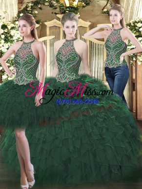 Fashion Dark Green Sleeveless Floor Length Beading and Ruffles Lace Up Sweet 16 Dresses