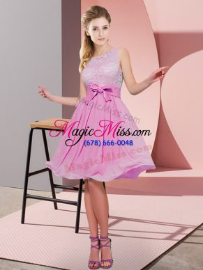 Scoop Sleeveless Bridesmaid Gown Knee Length Lace and Bowknot Rose Pink Chiffon