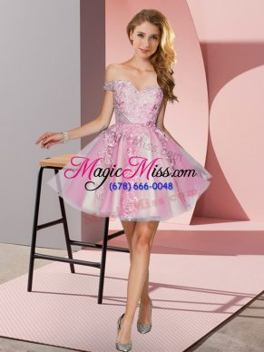 Mini Length A-line Sleeveless Pink Wedding Party Dress Zipper