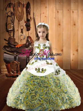 Cute Multi-color Sleeveless Floor Length Embroidery Lace Up Little Girls Pageant Dress