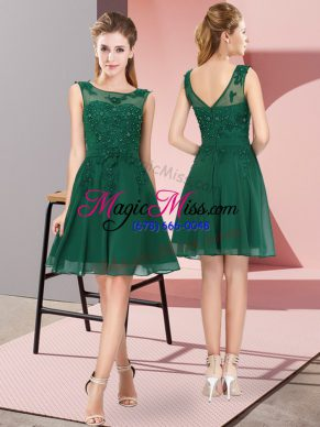 Enchanting Dark Green Scoop Zipper Appliques Wedding Party Dress Sleeveless