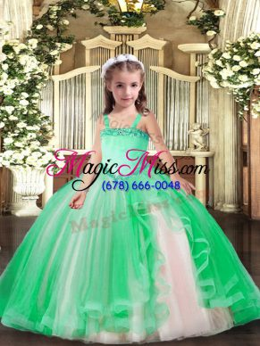 Turquoise Straps Neckline Appliques Little Girls Pageant Dress Wholesale Sleeveless Lace Up