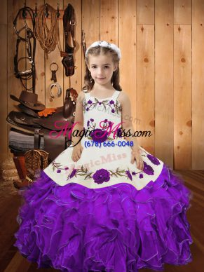 Eggplant Purple Sleeveless Embroidery and Ruffles Floor Length Little Girls Pageant Dress Wholesale