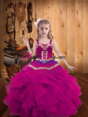 Cute Ball Gowns Little Girls Pageant Dress Fuchsia Straps Organza Sleeveless Floor Length Lace Up