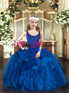 Stylish Scoop Sleeveless Organza Girls Pageant Dresses Beading and Ruffles Zipper