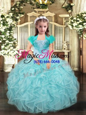 Lovely Sleeveless Beading and Ruffles Lace Up Kids Pageant Dress
