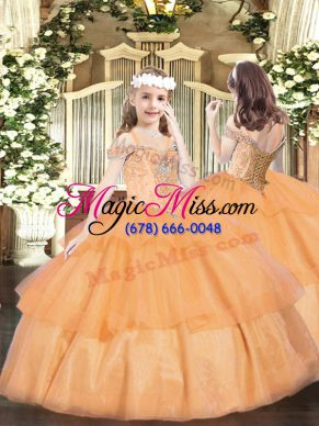 Orange Little Girls Pageant Dress Wholesale Party and Quinceanera with Beading and Ruffled Layers Off The Shoulder Sleeveless Lace Up