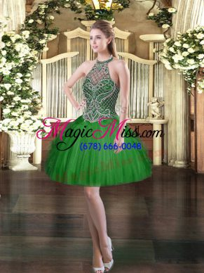 Dazzling Halter Top Sleeveless Lace Up Dress for Prom Dark Green Tulle