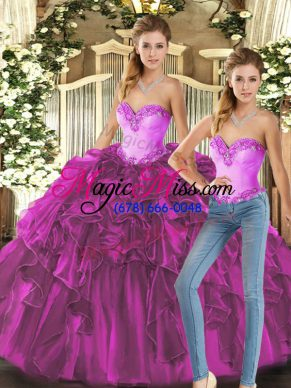 Fuchsia Sleeveless Floor Length Ruffles Lace Up Quinceanera Dresses