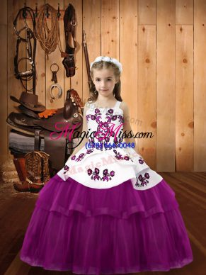 Purple Tulle Lace Up Kids Pageant Dress Sleeveless Floor Length Embroidery