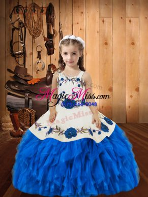 Latest Blue Pageant Gowns For Girls Straps Sleeveless Lace Up