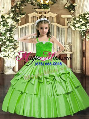 Floor Length Child Pageant Dress Organza Sleeveless Appliques and Ruffled Layers