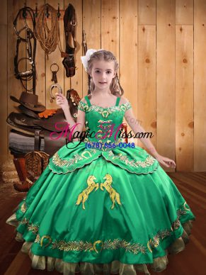 Off The Shoulder Sleeveless Satin Pageant Gowns For Girls Beading and Embroidery Lace Up